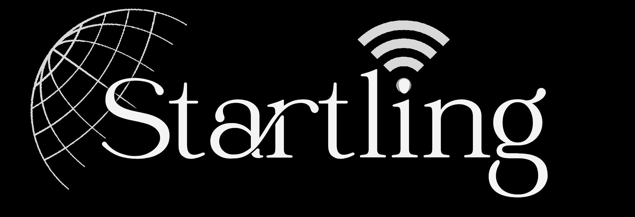 startling new logo white